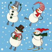 Funny cartoon christmas snowmen — Vector de stock