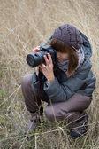 Girl photographing — Stock Photo