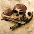 Stock Photo: Pirate skull beach grunge