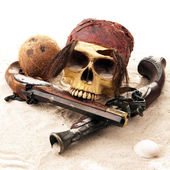 Pirate skull beach — Stock Photo