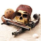Pirate skull beach — Stock Photo