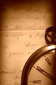 Vintage watch and old letter — Stock Photo