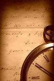 Vintage horloge en oude brief — Stockfoto