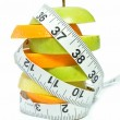 Tape measure and fruit — Foto Stock
