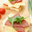 Cheese and salami on toast — Stock Photo