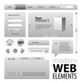 Grey Website Design Elements — Stock Vector