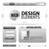 Round Corner Web Design Elements Graphite Gray — Stock Vector