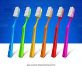 Six Color Toothbrushes — Stock Vector