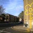 "Banksy Graffiti ""Sunflower"" — Stock Photo"