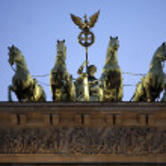 The quadriga statue ontop of the Brandenburg Gate - Berlin, Germ — Stock Photo