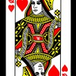 Queen of Hearts Playing Card — Stock Photo