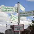 Berlin Points of Interest are Signposted with the TV Tower in th - Stock Photo