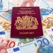 UK Passport and Euros - Stock Photo