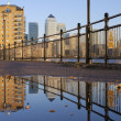 Docklands Puddled Reflection — Stock Photo