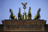 The quadriga statue ontop of the Brandenburg Gate - Berlin, Germ — Stock Photo