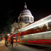 Light Trails Passing St. Paul's Cathedral in London — Stock Photo