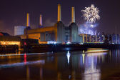 Battersea Power Station and Fireworks — Stock Photo