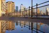 Docklands Puddled Reflection — Stock Photo