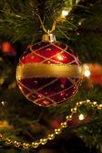 Christmas Bauble on Tree — Stock Photo