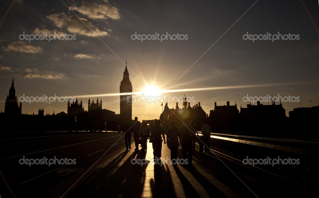 A silhouette of Big Ben and the Houses of Parliament. Looking North from Westminster Bridge.  Stock Photo #6828103
