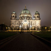 The Berliner Dom at Night (with the TV Tower behind) — Stock Photo