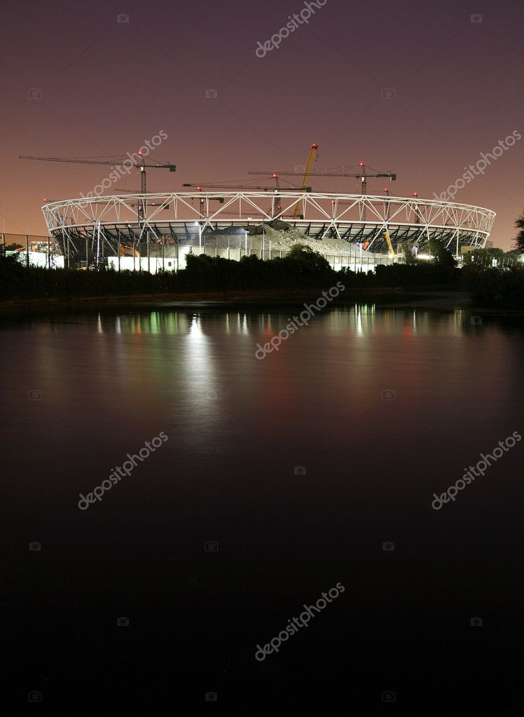 The London Olympic Stadium Construction site at night. Stratford, East London.  Stock Photo #6830710