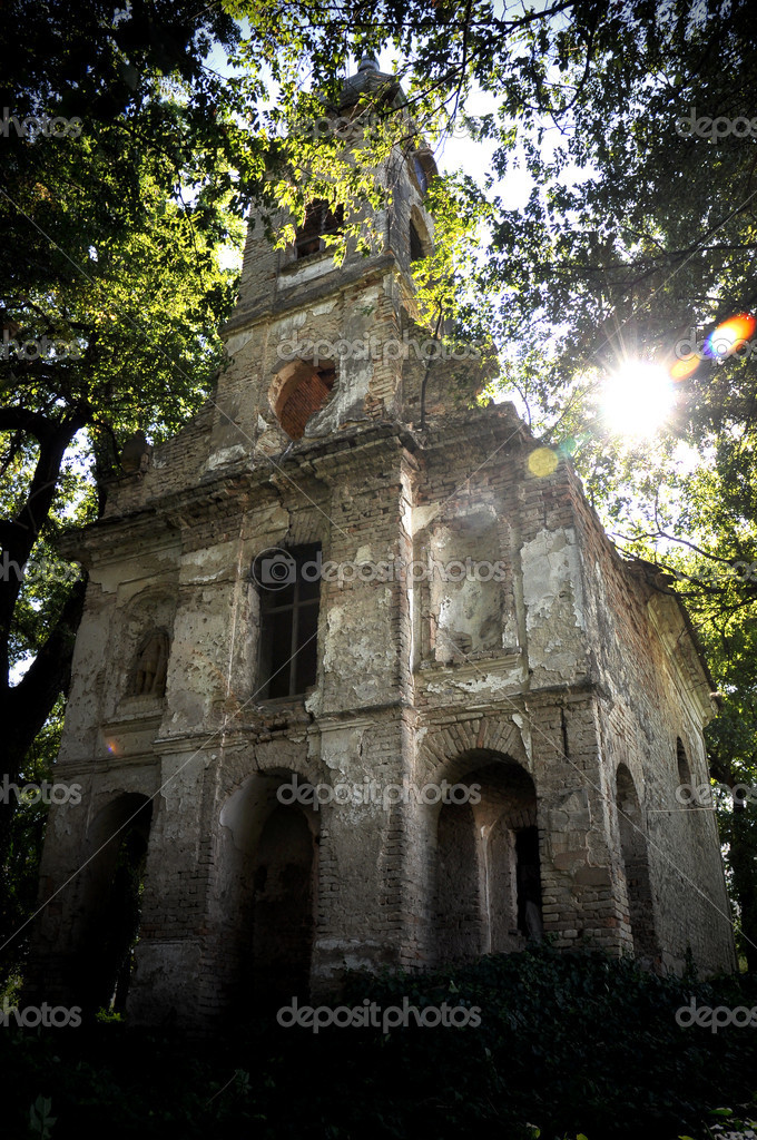 Old church in the forest in backlight  Stock Photo #6829171