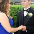Prom Boy Holding Hand of Girlfriend — Stock Photo