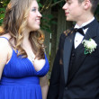 Prom Couple Smiling At Each Other In Profile — Stock Photo