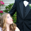 Prom Girl and Anonymous Date — Stock Photo