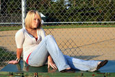 Blond At Baseball Field 2 — Stock Photo