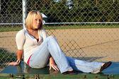Blond au terrain de baseball 2 — Photo