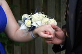 Holding Hand With Wrist Corsage — Stock Photo