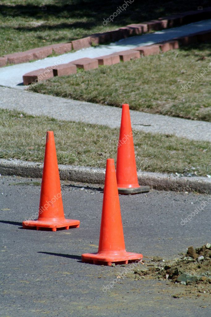 Three safety cones on a road construction site. — Stock Photo #6849793