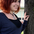 Smiling By The Tree — Stock Photo