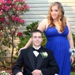 Smiling Prom Couple Outdoors Horizontal — Stock Photo