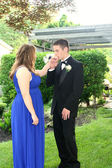 Teen Boy Kissing Prom Date's Hand — Stock Photo