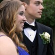 Prom Dates Laughing and Serious — 图库照片