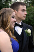 Prom Dates Laughing and Serious — Stock Photo