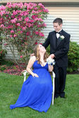 Prom Girl Seated Smiling at Date — Stock Photo