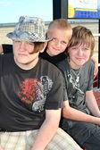 Three Brothers on Boardwalk 2 — Stock Photo