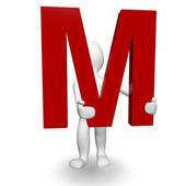 3D Human charcter holding red letter M — Stock Photo