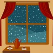 Snowfall outside of a cozy room - Stock Vector