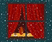 Snowfall and window — Stock Vector