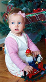 A cute baby girl on christmas — Stock Photo