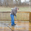 Stock Photo: Pressure washing deck