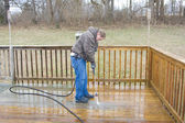 Pressure washing deck — Foto de Stock