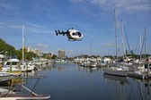 Air Transport Helicopter Over Marina — Stock Photo