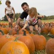 Stock Photo: Kids and Pumpkins