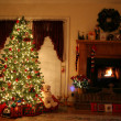 Christmas and Fire Place - Stock Photo